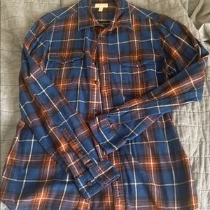 Blue and orange flannel shirt